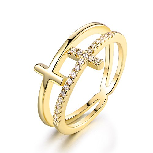 Barzel Gold Plated Cubic Zirconia Double Cross Ring (7) (6)