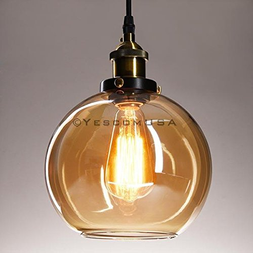 7.9'' Vintage Industrial Classic Amber Glass Pendant Light Ball Shade For Kitchen Living Room Home Restaurant Spa Hotel Coffee Shop Bar by Generic (Image #4)