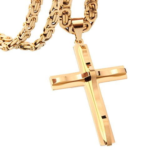 Simple Huge Gold Stainless Steel Men's Cross Pendant 6mm Byzantine Chain Necklace,20-34