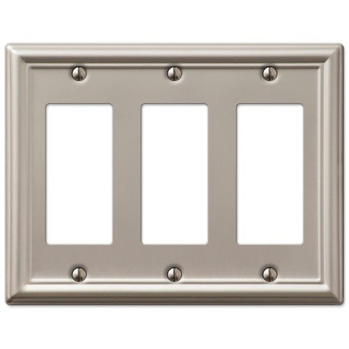 Decorative Wall Switch Outlet Cover Plates (Brushed Nickel, Triple Rocker) - Brushed Nickel Triple Rocker