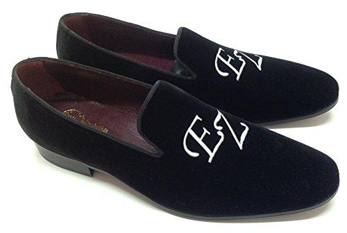 scarpe uomo, slippers in velluto nero con iniziali personalizzabili