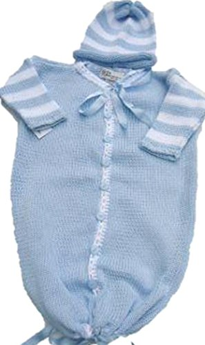 Knitted Crochet Finished Blue Cotton White Stripe Baby Bu...