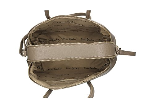 Tasche damen mit schultergurt PIERRE CARDIN schlamm leder Made in Italy VN76