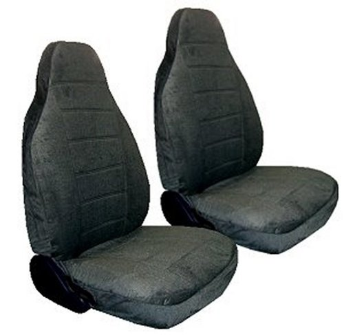 BDK USA Encore Quilted Velour 2 High Back Bucket Car Truck SUV Seat Covers - Charcoal (Encore Velour)