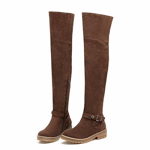 botas del botas Caballero invierno muslo y brown Dichotomanthes en otoño hebilla Europa el El inferior la cinturón tamaño botas 7qABw7