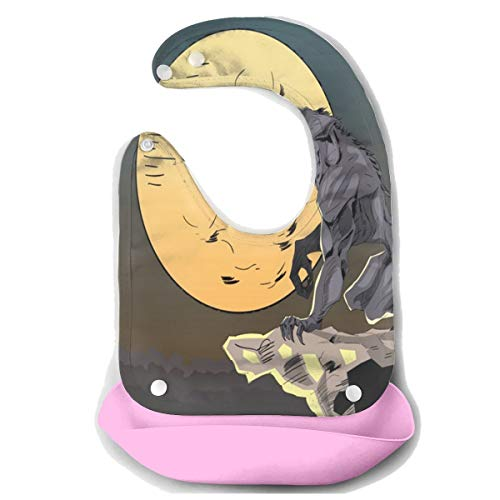Halloween Background With Wolf Baby Bibs Silicone Teething Bibs for Girls Drooling Bib/Smock With Food Catcher Pocket -