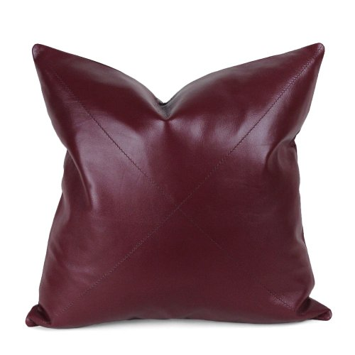 Burgundy Napa Leather Pillow - dark red leather pillow