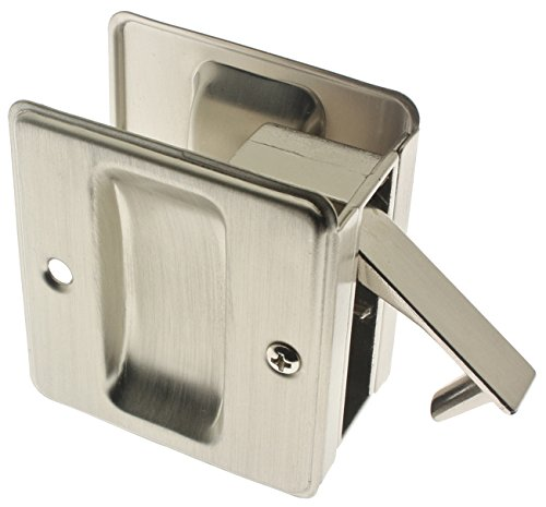 Satin Nickel Latch - idh by St. Simons 25410-015 Premium Quality Solid Brass Pocket Passage Door Pull, Satin Nickel