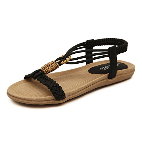 Vintage Stile Pantofole Bohemian ZHXUANXUAN Cinturino Sandali Black in Infradito Elastiche con Piatti Piatte Sandali Metallo Perline Sandali Infradito nIxXAq