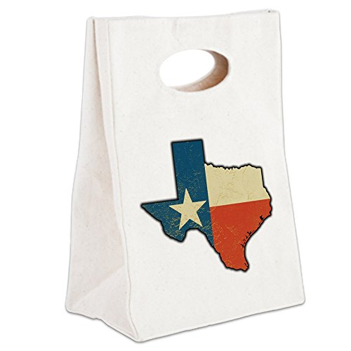 Pecan Canvas - Canvas Lunch Tote Texas Flag Texas Shaped