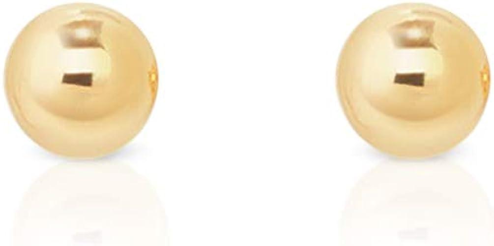 DTP Silver - Set da 2 paia di Orecchini a perno da donna con sfera/palla - Argento 925, Placcato in Oro Giallo o Oro Rosa - Diametro 2 mm Oro Giallo
