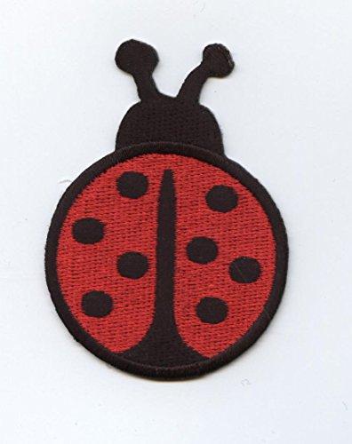 Large Red and Black Ladybug Iron on Embroidered Patch Ladybug Embroidered Iron