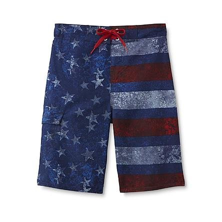 American Flag Boys Red Blue Boardshorts Swimsuit Trunk Size 8