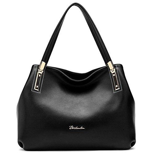 BOSTANTEN Women's Cow Leather Designer Handbags Purses Tote Shoulder Bags Black