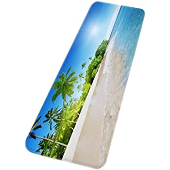 amonamour tropical island palm tree blue ocean seaside beach scenery print soft flannel absorbent nonslip bathroom mat decorative area rugs for living