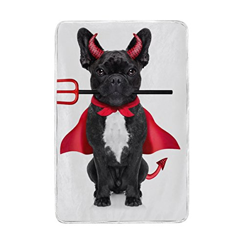 Vantaso Blankets Throw Soft Warm Cute French Bulldog Halloween 60 x 90 inch for Kids Bed and Sofa Couch Living Room by Vantaso