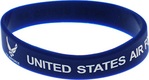 - Cultural Exchange Eagle Crest United States Air Force Silicone Rubber Wristband [Pack of 2 - Blue - 8