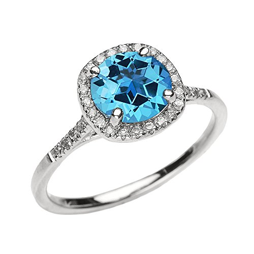 Dainty 14k White Gold Halo Diamond and Blue Topaz Centerstone Engagement Proposal Ring Size 75