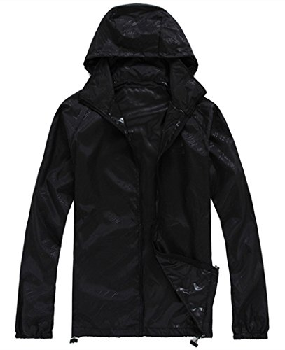 Lanbaosi Women's Super Lightweight UV Protect+Quick Dry Waterproof Skin Jacket Black Size XXXL