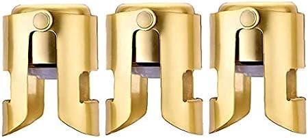 DierCosy Acero Inoxidable tapón de champán Vino espumoso sellador de Fugas Prueba Plug Ahorro de Oro 3PCS Premium
