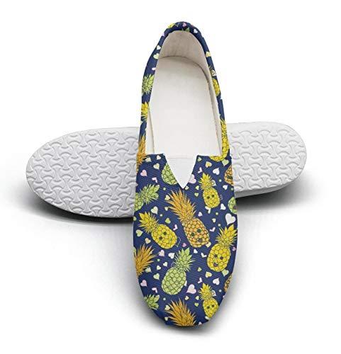 Women's Cotton Espadrille Love Happy Pineapple Faces & Heart Shape Flat Shoes ()