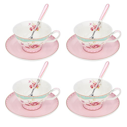 ink Flower Patterned New Bone China 6.8oz / 200ml Cup & Saucer Sets with Spoon for Coffee and Tea (12 Piece Set Coffee Cups)
