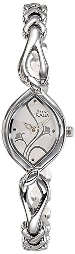 Titan Women's Raga Silver Metal Jewellery Bangle Design, Bracelet Clasp Analog Wrist Watch (Bracelet Watch Bangle Quartz)
