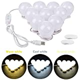 vanity lighting ideas Lvyinyin 3 Colors Adjustable 5V USB Power Vanity Lights Kit Hollywood Style Makeup LED Light Bulbs with Stickers Attached to Bathroom or Dressing Mirrors, Dimmable Switch, 10 Lights