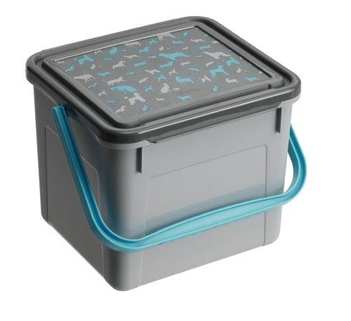 Rotho Aufbewahrungsbox für Tierfutter aus Kunststoff (PP), mit Tragegriff und Motiv auf Deckel, für circa 1.9 kg Trockenfutter, circa 21 x 20 x 18 cm (LxBxH), grau/anthrazit