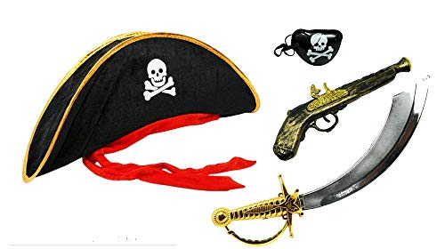 Pirate Halloween Costume - Captain hat Hat, Sword, Eyepatch,Pistol -Kids Size -