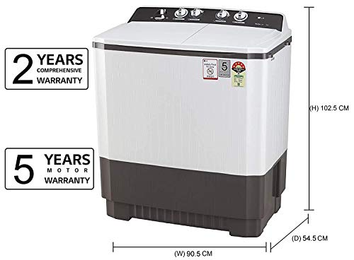 LG 9 kg 5 Star Semi-Automatic Top Loading Washing Machine (P9040RGAZ, Grey, Lint collector) 2021 June Semi-automatic washing Machine: Economical, Low water and energy consumption, involves manual effort; has both washing and drying functions Capacity 9.0 kg (wash): Suitable for large families Energy rating 5 Star