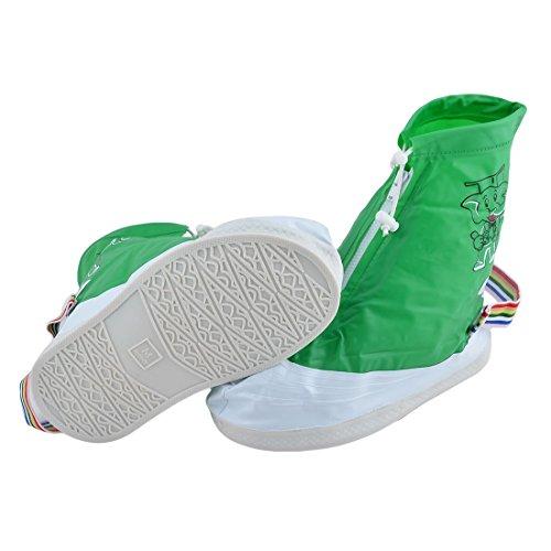 DealMux Lady PVC modello dell'elefante Acqua Fango Dirt scarpe resistenti Protector coperture verde Coppia US 6