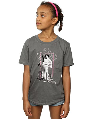 Star Wars Girls Princess Leia Distressed T-Shirt 5-6 Years Charcoal
