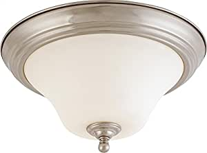 Nuvo 60/1825 Brushed Nickel Medium Flush Dome with Satin White Glass