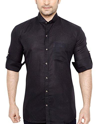 GlobalRang Men's Linen Stand Collar Black Casual Shirt