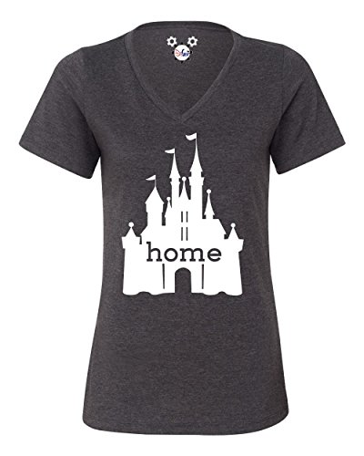 The Original Women's Disney Castle Is My Home UltraSoft V-Neck T-Shirt (Large) (Ultrasoft Tee V-neck)