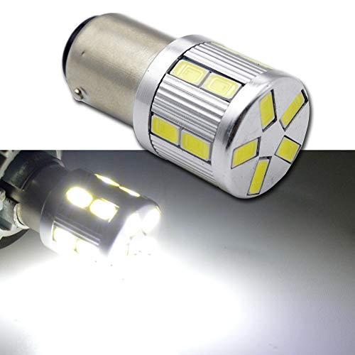 1157 BAY15D S25 White 6000K 6V LED Car Stop/Turn/Reverse/Tail Light Bulb Lamps - Negative Ground (Pack of 2)