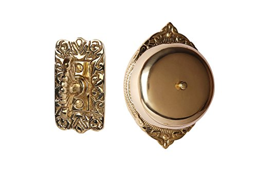 (Twist Hand-Turn Solid Brass Wireless Mechanical Doorbell Chime in Polished Lacquered Finish Vintage Decorative Antique Victorian Door Bell with Easy Installation)