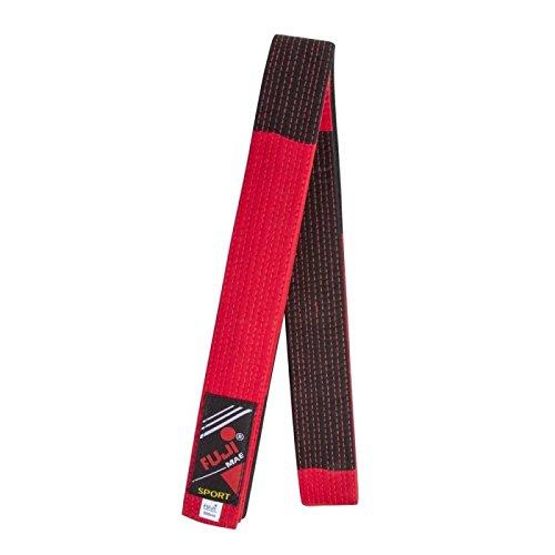 Fuji Mae - Cinturón especial Maestro Bicolor: Rojo/Negro, color Rojo/Negro