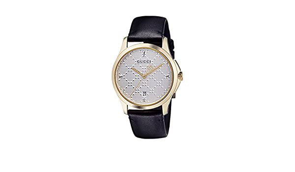 a04f1aea952 Amazon.com  Gucci G-Timeless SIlver Dial Mens Leather Watch YA1264027   Watches