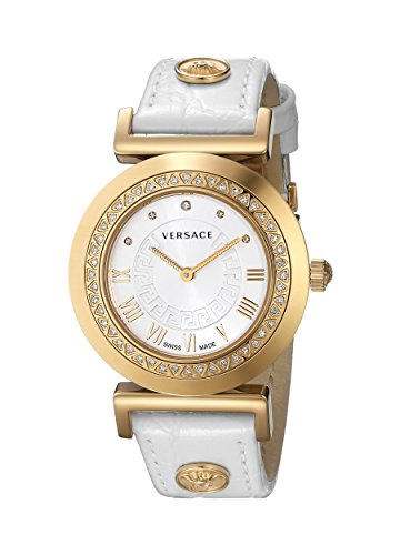 Versace Women's P5Q84SD001 S001 Vanity Watch With White Leather Band