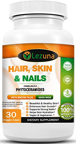 Cheap Hair Skin and Nails Vitamin Supplement with Clinically Studied Ingredients, Phytoceramides, Biotin, Hair Growth, Nail Strength, Anti-Aging, Extra Strength 1 Capsule Per Day – 30 Capsules