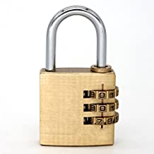 Brass Resettable Combination Padlock, Suitcase Luggage Backpack Baggage Locker Coded Lock Password Padlock 3-Digit Lock