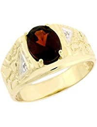 14k Solid Yellow Gold Garnet 0.04cttw Diamond Mens Ring