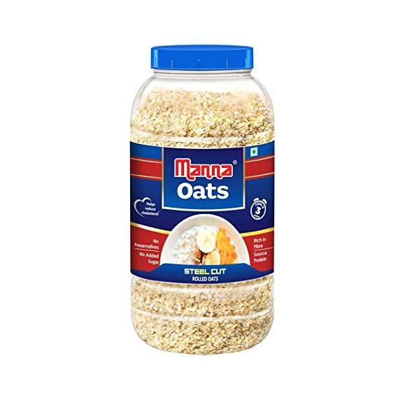 Manna Oats (1kg Jar) - Gluten Free Steel Cut Oats. High in Fibre & Protein. Helps Maintain Cholesterol. Good for Diabetics. 100% Natural.