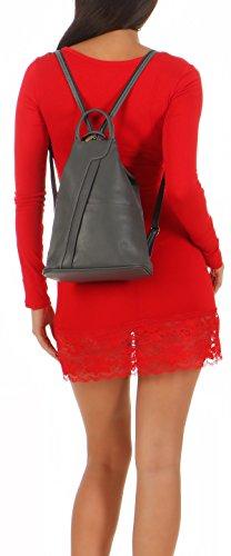 malito Mochila de la Mujer de real Cuero Mochila Multifunción T500 Mujer Talla Única (rojo-negro) gris oscuro