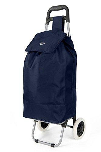 Hoppa 23' Lightweight Wheeled Shopping Trolley, Hard Wearing & Light Weight Polyester Rolling Push Trolley, 47L, 3 Year Guarantee (Navy)