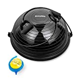 Everymile Half Ball Balance Trainer Stability Yoga Exercise Ball with Resistance Bands & Pump for Home Gym Core Training Yoga Fitness Ab Strength Workouts, 23 inch Anti-Skid Surface-Black