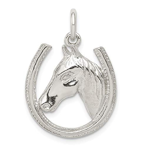 (925 Sterling Silver Horseshoe Horse Head Pendant Charm Necklace Good Luck Italian Horn Animal Man Fine Jewelry Gift For Dad Mens For Him)