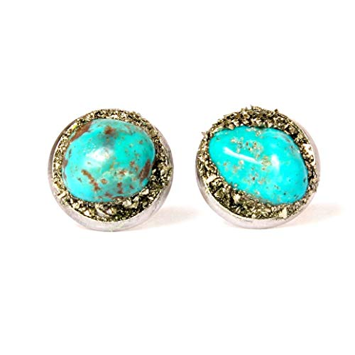 Stainless Steel Handmade Raw Natural Turquoise Stud Earrings - Stud Turquoise Bracelet